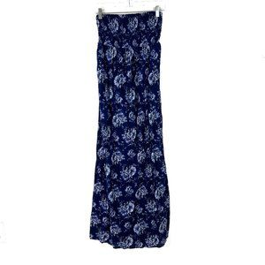 Old Navy Floral Strapless Maxi Dress Blue Small S